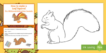 Leaf Squirrel Craft Instructions English/German - Autumn, seasons, fall, weather, EAL, German, English-German,,German-translation