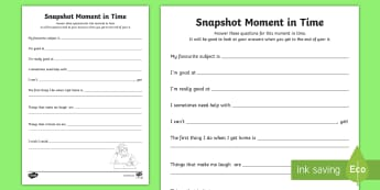 Year 6 Back to School Snapshot Moment in Time Activity Sheet - Back to school, b2s, ice breaker, worksheet, first day, year 6, getting to know you, class, new term