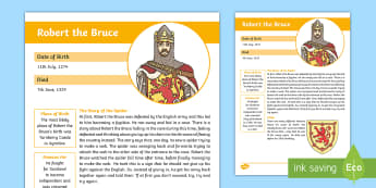 Battle of Bannockburn Significant Person: Robert the Bruce Fact File-Scottish - CfE Battle of Bannockburn, King Edward II, Robert the Bruce, Scots, 1314, war of independence, Scott