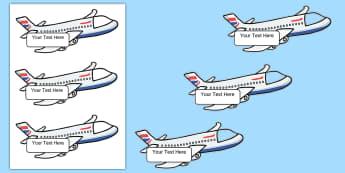 Editable Aeroplane Themed Photo Self Registration Labels - Editable Aeroplane Photo Self Reg Labels - plane, self registration, lebels, labeles, areoplane, edi