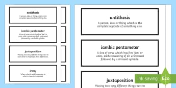 Poetry Terminology Cards - The Movement, Time and Place, Edexcel Poetry, GCSE Poetry Anthology, revision, poetry analysis.
