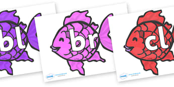 Initial Letter Blends on Fish (Multicolour) to Support Teaching on The Rainbow Fish - Initial Letters, initial letter, letter blend, letter blends, consonant, consonants, digraph, trigraph, literacy, alphabet, letters, foundation stage literacy