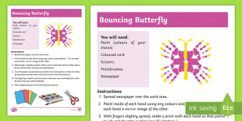 Bouncing Butterfly Hand Printing Activity - shape, sensory, craft, art, special Education, paint, hand, animal