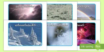 Wetter Fotos für die Klassenraumgestaltung - Wetter, Wetterwechsel, Wetterfotos, Sonne, Regen, Gewitter, Regenbogen, Schnee,German
