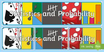 Statistics and Probability Display Banner-Australia - Australian Curriculum Mathematics Display Banners, statistics, probability, statistics and probabili