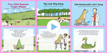 Pets Songs and Rhymes PowerPoints Pack - EYFS Pets, Animals, National Pet Month, singing, song time, vets, animal care, microchip, lost dog,