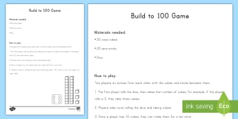 100th Day of School Build to 100 Game - 100th Day of School, Place Value