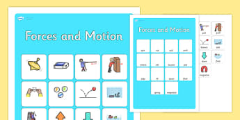 Forces and Motion Vocabulary Matching Mat - forces and motion, forces, motion, vocabulary, matching mat, word mat, vocabulary mat, vocab mat, keywords