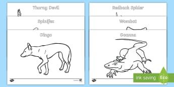 Australian Animals Colouring Pages - Australian Curriculum Biological sciences, Australian animals, koala, kangaroo, echidna, Australian