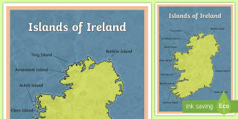 Islands of Ireland Large Display Poster - SESE, Ireland, geography, islands, map, physical, seas,Irish