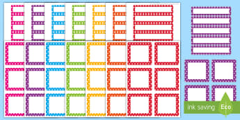 Etiquetas editables multicolores con puntos para perchas y bandejas - Organizar, ordenar, Vuelta al Cole, Decorar, Clase