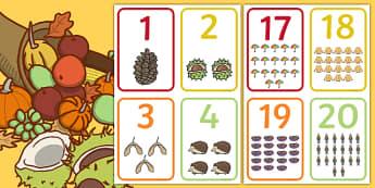 Numere pe tema toamnei Cartonașe - tema toamnei, toamna, numerație, jocuri,a ctivități, activitate, matematică, comunicare, Romania
