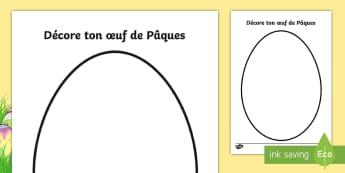 Décore ton oeuf de Pâques Feuille d'activités - French, paques, easter, colouring, france