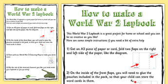 World War Two Lapbook Instructions - lapbook, instructions, ww2
