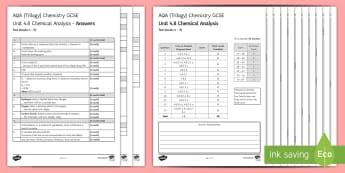 AQA Chemistry Unit 4.8 Chemical Analysis Test - KS4 Assessment, Test, gcse, chemistry, chemical analysis, analysis, chemical, reaction, chromatograp
