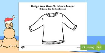 Christmas Jumper Design Activity Sheet English/Afrikaans - December, celebration, crayons, pencils, Desember, potlode, EAL