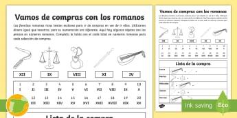 Ficha de actividad: Vamos de compras con los romanos - numeración romana, sumar, sumas, comprar, dinero, historia, matemáticas,,Spanish