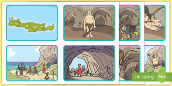 Odysseus and Cyclops Sequencing Cards - cyclops, greek, myth, sen, cards, images, pictures, sequence, odysseus