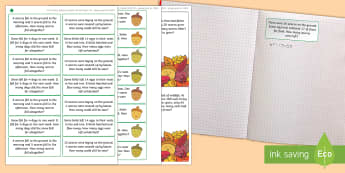 Little Acorns Themed Maths Challenge Sticky Avery Labels - Maths, Problems, Word Problems, KS1, Key Stage One, Scenario, Challenges, Stickers