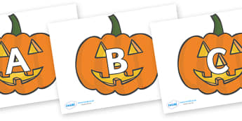 A-Z Alphabet on Jack O'lanterns - A-Z, A4, display, Alphabet frieze, Display letters, Letter posters, A-Z letters, Alphabet flashcards