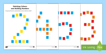 Matching Colours and Building Numbers Activity - Maths in ECE, number, color, recognition, matching, blocks, colour recognition, number recognition,