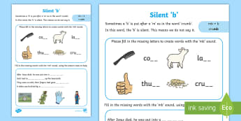Silent b Activity Sheet -  worksheet, phonics, alternative, alternate, sound, missing letters, pattern