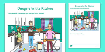 Dangers in the Kitchen Activity Sheet - CfE, Early Level, SHANARRI, safety, health and wellbeing, safety in the home, kitchen, worksheet