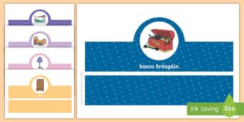 The Bedroom, Oral Language Headband Game Gaeilge - Gaeilge, ag caint, seomra codlata, cluichí teanga, cluiche,,Irish