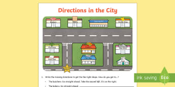 Directions in the City Activity Sheet - directions, city, activity, direct, shops, town