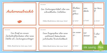 Leseverständnis üben Autorenabsicht : DIN A4 Karteikarten - Autor, Schriftsteller, Lesen, Absicht, Übung, Buch, Texte, ,German