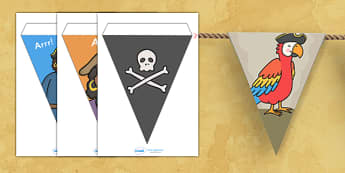 Pirate Display Bunting - pirates bunting, pirate bunting, pirates, pirate display, bunting, display bunting, bunting flags, cut out bunting, paper bunting