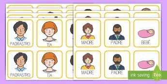 Tarjetas de emparejar: La familia - tarjetas de emparejar, emparejar, parejas, tarjetas, familia, familiares, miembros de la familia, pa