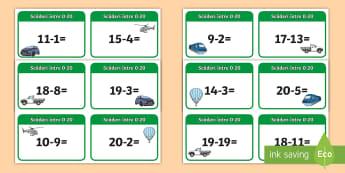 Scăderi în concentrul 0 20 Cartonașe - diferența, matematică, adunări, scăderi, activități, jocuri, fișe,Romanian