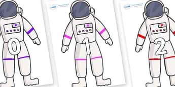 Numbers 0-31 on Astronaut - 0-31, foundation stage numeracy, Number recognition, Number flashcards, counting, number frieze, Display numbers, number posters