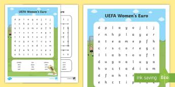 UEFA Women's Euros Word Search - football, ladies, europe, european football, league,
