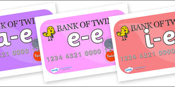 Modifying E Letters on Debit Cards - Modifying E, letters, modify, Phase 5, Phase five, alternative spellings for phonemes, DfES letters and Sounds