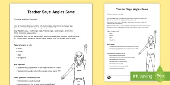 Teacher Says Angles Game - Geometry, angles, acute, obtuse, straight, right, parallel lines, perpendicular lines, intersecting