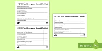 NAIDOC Week Newspaper Article Checklist - text type, assessment, list, guide, features, fact, report,Australia