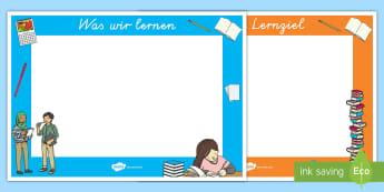 Unterrichtsthema und Lernziel Poster für die Klassenraumgestaltung - Schild, Thema, Unterricht, Ziel, Lernen, ,German