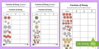 Fractions of Money Differentiated Activity Sheets