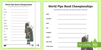 World Pipe Band Championships Word Unscramble - Piper, pipe band, drummers, glasgow, August, Band, Worlds,Scottish