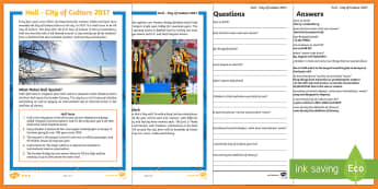 Hull City of Culture 2017 KS2 Differentiated Reading Comprehension Activity - Hull City of Culture 2017, city of culture, hull, humber, rugby league, yorkshire, contrasting local