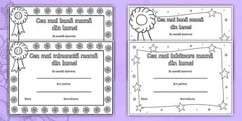 Cea mai bună mamă din lume - Diplomă  - Ziua mamei, română, diplome, 8 martie, martie, materiale,Romanian