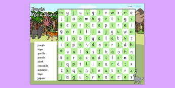 Jungle Wordsearch - jungle themed, jungle wordsearch, wordsearch, jungle themed wordsearch, jungle words activity, word activities
