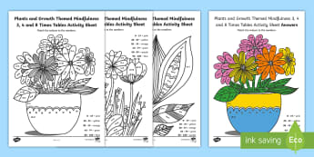 Plants and Growth Themed Mindfulness 3, 4 and 8 Times Tables Activity Sheet - Plants and Growth Themed Mindfulness 2, 5 and 10 Times Tables Colour By Numbers - plants and growth,