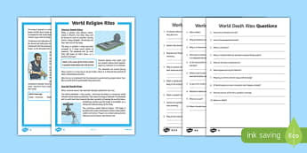 KS2 World Religion Death Rites Differentiated Reading Comprehension Activity