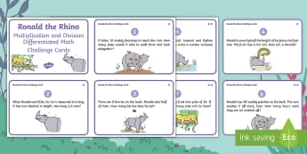 Ronald the Rhino Multiplication and Division Differentiated Math Challenge Cards - Twinkl fiction, originals, Solve, Find, Word Problem, Inverse, Times tables