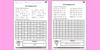 Counting in 4s Worksheet - counting, worksheet, 4, numbers, math