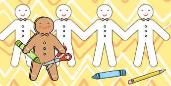 The Gingerbread Man Paper Chain- traditional tale, craft, display