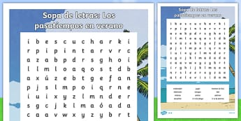 Free time activities in summer Word Search Spanish